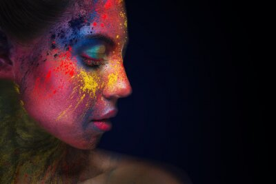 Fotomural Beautiful woman portrait with bright art make-up