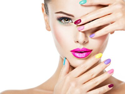 Fotomural beautiful woman  with colored nails