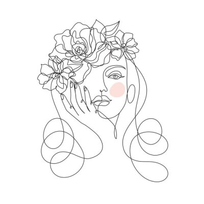 Fotomural Beauty woman face with flowers one line drawing art. Abstract minimal portrait continuous line. Minimalist Orchids flowers in hair Vector illustration