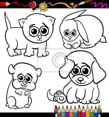 Bebé mascotas conjunto de dibujos animados para colorear fotomural ...