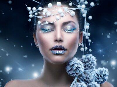 Fotomural Belleza del invierno. Christmas Girl Makeup