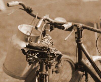 Fotomural Bicicleta antigua del siglo pasado utilizada para transportar la leche por mi