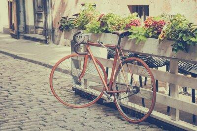 Fotomural Bicicleta en Old Street. Vintage estilizada.