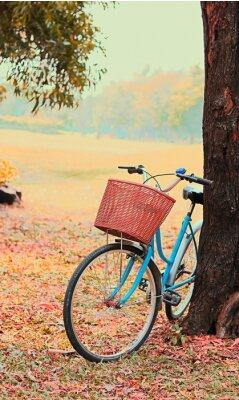 Fotomural Bicicleta para viajes de ocio. (Enfoque en la cesta) tono retro vintage