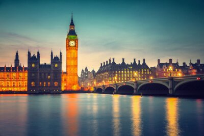 Fotomural Big Ben y el puente de Westminster al atardecer en Londres