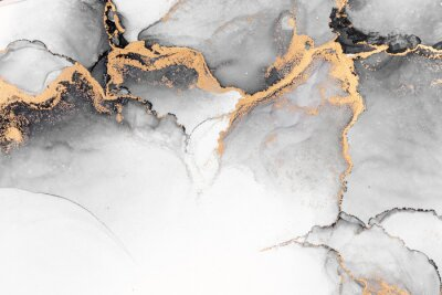 Fotomural Black gold abstract background of marble liquid ink art painting on paper . Image of original artwork watercolor alcohol ink paint on high quality paper texture .