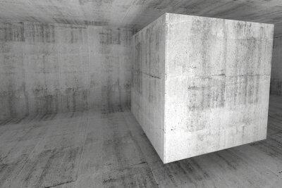 Fotomural Blanco cuarto de concreto 3d fondo abstracto con el cubo