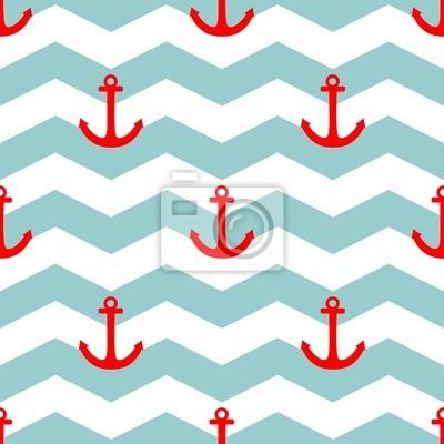 2684935aa58 Fotomural Blanco del ancla rojo vector patrón Azulejos marinero y el fondo  azul