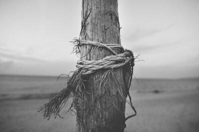 Fotomural Blanco y negro cerca de polo en la playa con cuerda retorcida