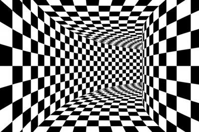 Fotomural Blanco y negro Checkered Square Walled Túnel Resumen Antecedentes