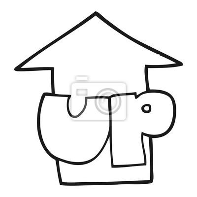 Blanco Y Negro De Dibujos Animados Hasta Símbolo Fotomural