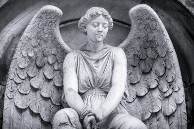 Fotomural Blanco y negro de un ángel.
