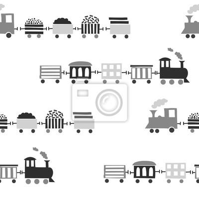 Juguete Trenes Patrón TransparenteVector Negro De Y FotomuralBlanco 3jc4AqL5R