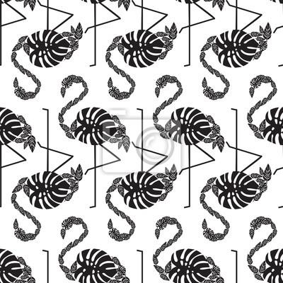 fa505d8d40 Fotomural Blanco y negro patrón de moda tropical sin fisuras con flamencos  decorativos de hojas de