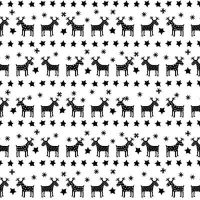 Fotomural Blanco y negro retro sin patrón de Navidad - variaba de Navidad renos, estrellas y copos de nieve. Fondo feliz año nuevo. Diseño del vector para las vacaciones de invierno en el fondo blanco.