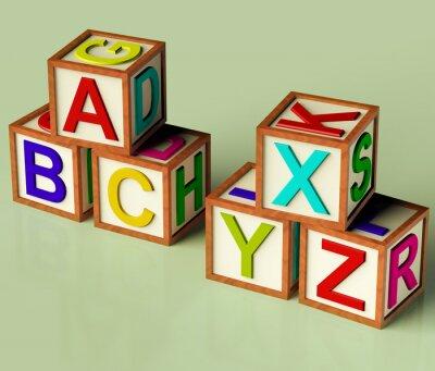 Fotomural Bloques para niños Con Abc Y Xyx como símbolo para la educación y Learnin