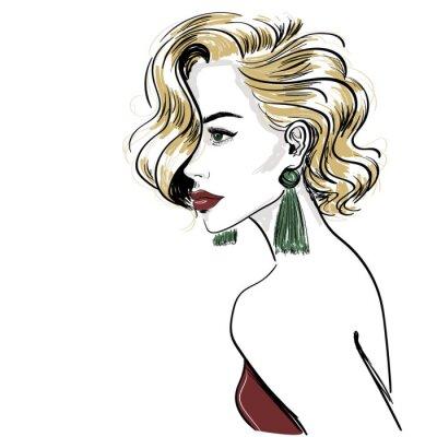Fotomural boceto de mujer rubia clásica con ondas de pelo