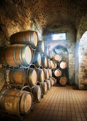 Fotomural Bodega con los barriles para el almacenamiento de vino