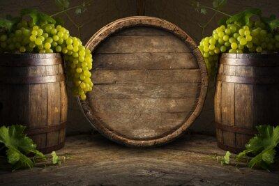 Fotomural Bodegón de vino con barril de madera