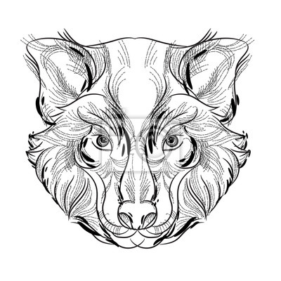 Bosquejo de la cabeza del animal, diseño libre de la línea en ...