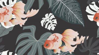 Fotomural Botanical seamless pattern, pink lotus flowers and goldfish on dark grey background, pastel vintage style