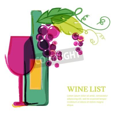 Fotomural Botella de vino, vidrio, vid de uva rosa, ilustración de acuarela. Resumen de vectores plantilla de diseño de fondo. Concepto para la lista de vinos, menú, volante, fiesta, bebidas alcohólicas, celebr