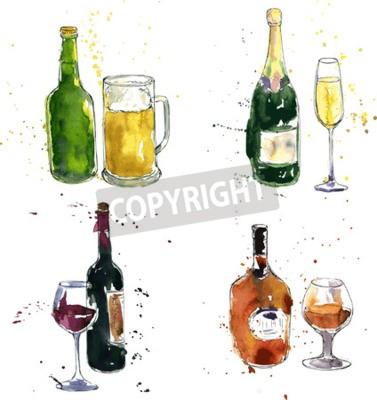 Fotomural Botella de vino y copa, botella de vino y copa, botella de vino y copa, botella de cerveza y copa, dibujo de acuarela y tinta, dibujado a mano ilustración vectorial