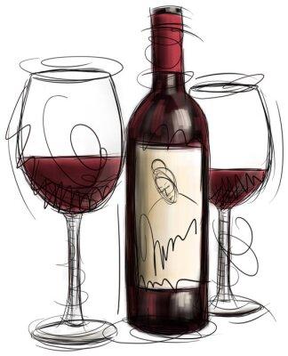 Fotomural Botella de vino y vidrios