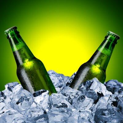 Fotomural Botellas de cerveza en cubo de hielo