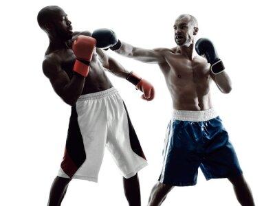 Fotomural boxeadores de los hombres de boxeo aislados silueta