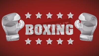 Fotomural Boxeo concepto con el campeonato de iconos de diseño, ilustración vectorial 10 eps gráfico.