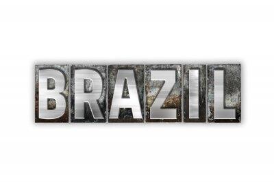 Fotomural Brasil Tipo Aislado Metal Tipografía