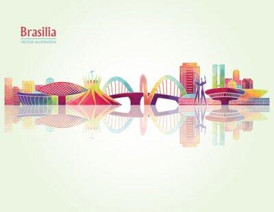 Fotomural Brasilia horizonte detallado. Ilustración vectorial