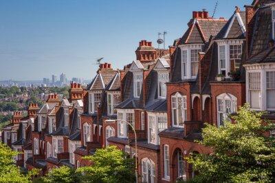 Fotomural Brick casas en un disparo panorámico de Muswell Hill, Londres, Reino Unido