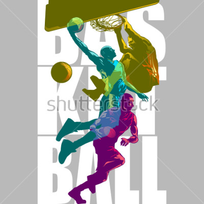 Fotomural Bright Basketball players silhouettes with Colour Channel overlaping  sport illustration