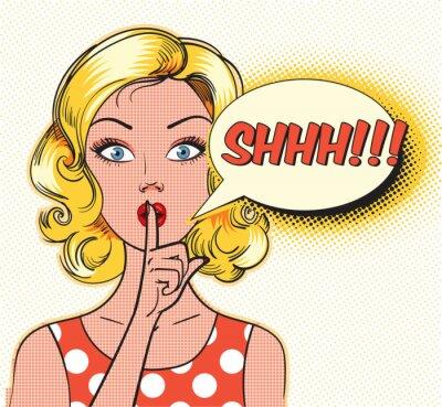 Fotomural Burbuja de shhh Pin up mujer poniendo su dedo índice a sus labios para silencio silencioso. Estilo del cómic del arte pop. Ilustración del vector