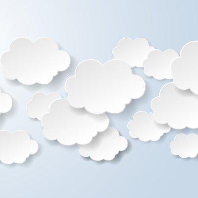 Fotomural Burbujas abstractas del discurso en la forma de las nubes utilizadas en un contexto social