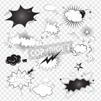 Fotomural Burbujas de discurso negro cómico del texto en blanco en estilo del arte pop
