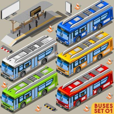 Fotomural Bus Set 01 isométrica Vehículo