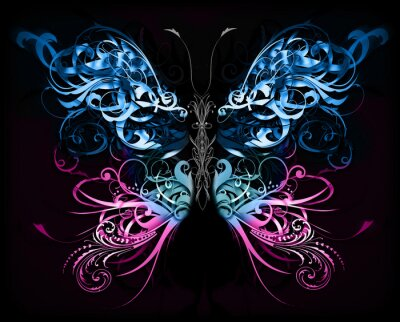 Fotomural butterfly made of flourish abstract shapes