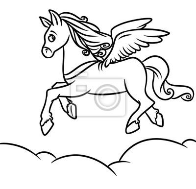 Caballo de vuelo pegasus para colorear ilustración de dibujos ...