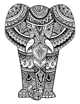 Cabeza Estilizada De Un Elefante Retrato Ornamental De Un Elefante