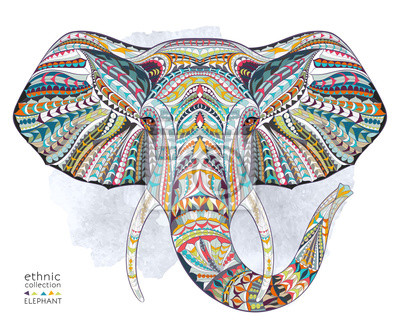 Fotomural Cabeza modelada étnica del elefante en el fondo del granero / diseño africano / del indio / del tótem / del tatuaje. Uso para la impresión, los carteles, las camisetas.