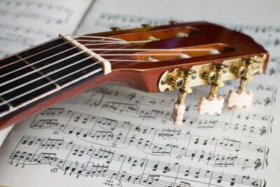 Fotomural Cabezal de guitarra en notas de música