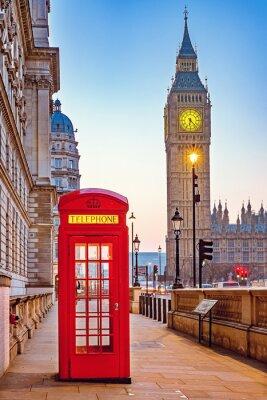 Fotomural Cabina de teléfono rojo tradicional y Big Ben en Londres