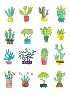 Fotomural cactus acuarela poster