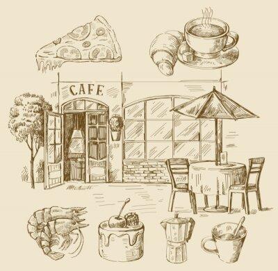 Fotomural café dibujado a mano