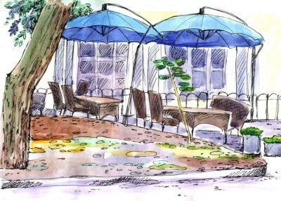 Fotomural Café en la calle. Paraguas azules, acuarela