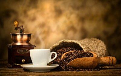 Fotomural Café expreso con molinillo de café viejo
