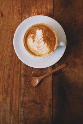 Fotomural Café latte en cafetería vintage color